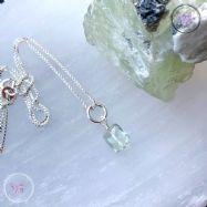 Faceted Prasiolite Silver Pendant Necklace